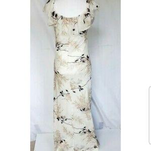 Anthropologie Cream Nylon Maxi Dress Large